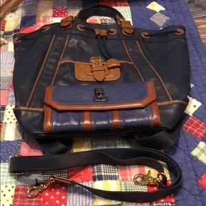 Tory Burch Large 3-way Leather & Canvas Bag